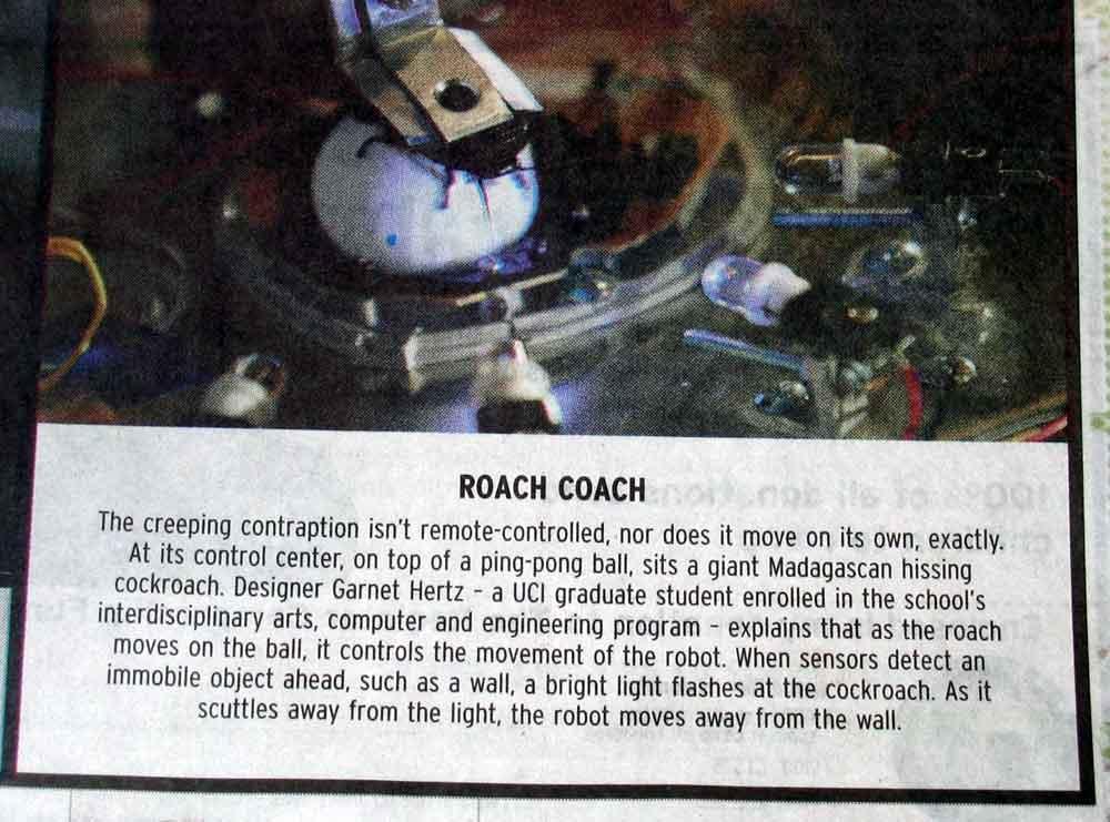 Cockroach Controlled Mobile Robot - Garnet Hertz
